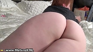 Chesty mature mom undressing