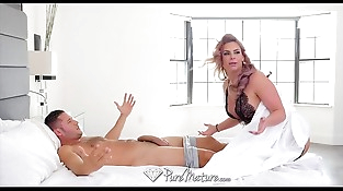 PureMature - Big breasted Phoenix Marie slobbers all over hard-on