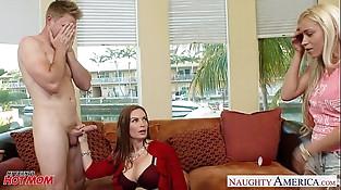 Wild moms Diamond Foxxx and Marsha May share dick