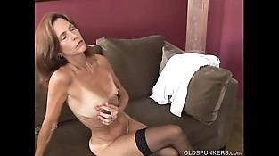 Slender old spunker in sexy stockings is feeling horny