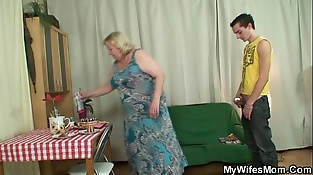 Chubby mom inlaw lures him into sex