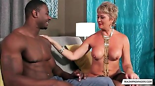 Interracial Big black cock Fucks Hot Mature