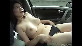 Subtitled pallid and curvy Japanese wife masturbation in car