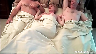 Exhausting Threesome For Unexperienced Grannie
