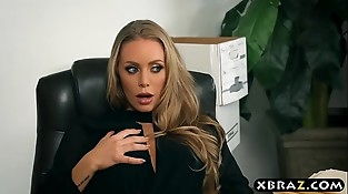 Fresh secretary blows and fucks her boss on her first day