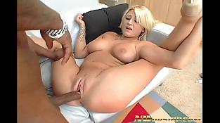 big tits blonde sucking black hard-on and eating cum