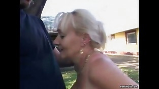 Big-titted granny gets pounded in the back yard