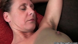 Granny Inge gets finger-tickled up her total bushed vagina