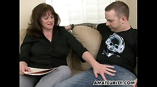 Buxomy fledgling Milf sucks and fucks a young dick