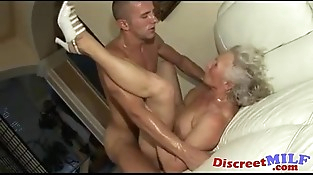 Banging the granny hairy cunt