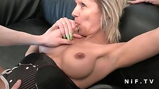 French mature cougar hard analized for her fledgling casting couch